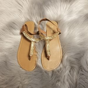Super Cute Thong sandals with gold stones